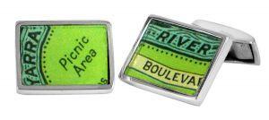 Yarra Boulevard vintage street directory cufflinks in sterling silver - $150