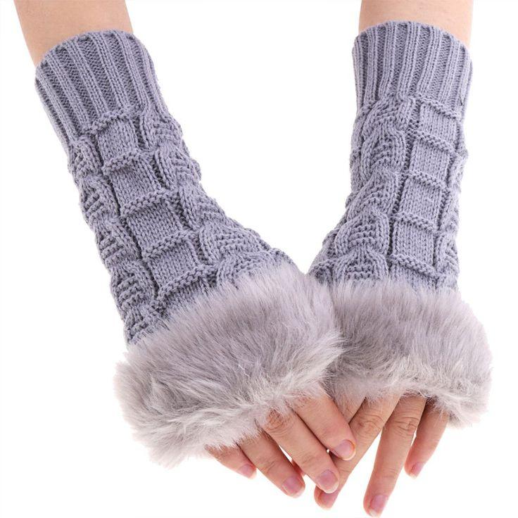 Women Knitted Long Wrist Gloves Fluffy Long Winter Warm Half Finger Gloves