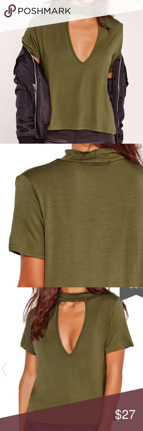 """Missguided Choker Tee Edgy and sexy! This viscose blend tee has a shorter boxy shape and a deep V with a choker style neck. On trend I live green is actually named """"khaki"""". Missguided Tops"""