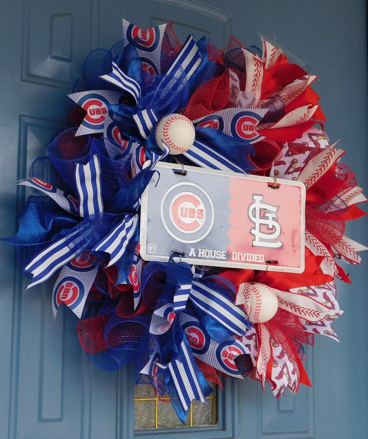 A House Divided; Chicago Cubs and St. Louis Cardinals Deco Mesh Wreath, Front Door Wreath, Cubs Cardinals Deco Mesh Wreath, Sports Wreath by TwoRoadsDivergedShop on Etsy