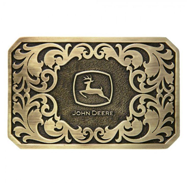 John Deere Brass Rectangle Logo Cast Buckle - Beltbuckles & Knives - Men's | RunGreen.com