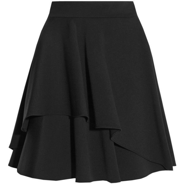 Alexander McQueen Ruffled wool-blend scuba mini skirt found on Polyvore featuring skirts, mini skirts, black, mid thigh skirts, short ruffle skirt, wool blend skirt, alexander mcqueen skirt and short skirts