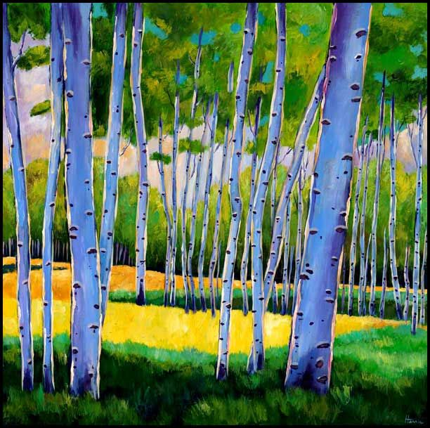 Aspen tree painting spring new mexico