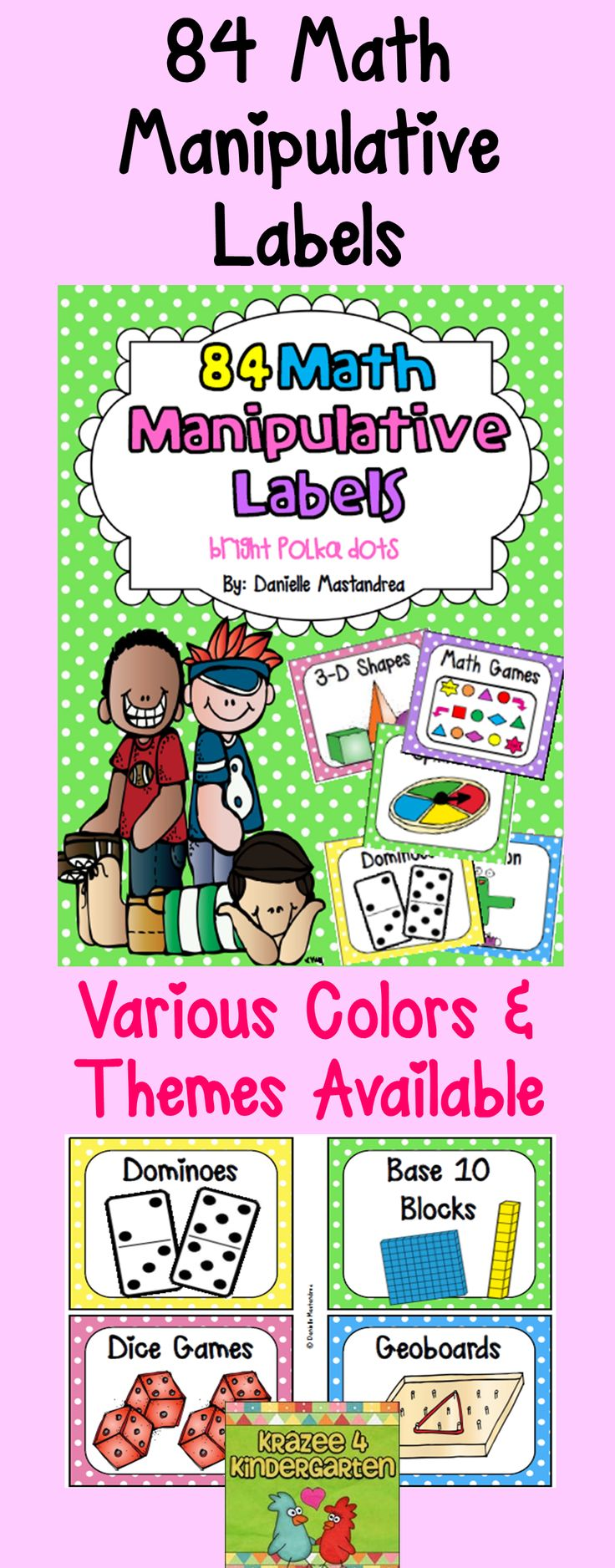 84 Math Manipulative Labels