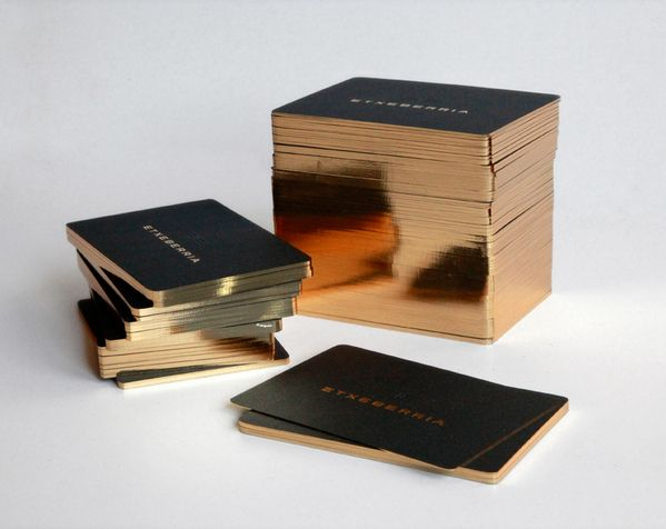 bronze + black business cards