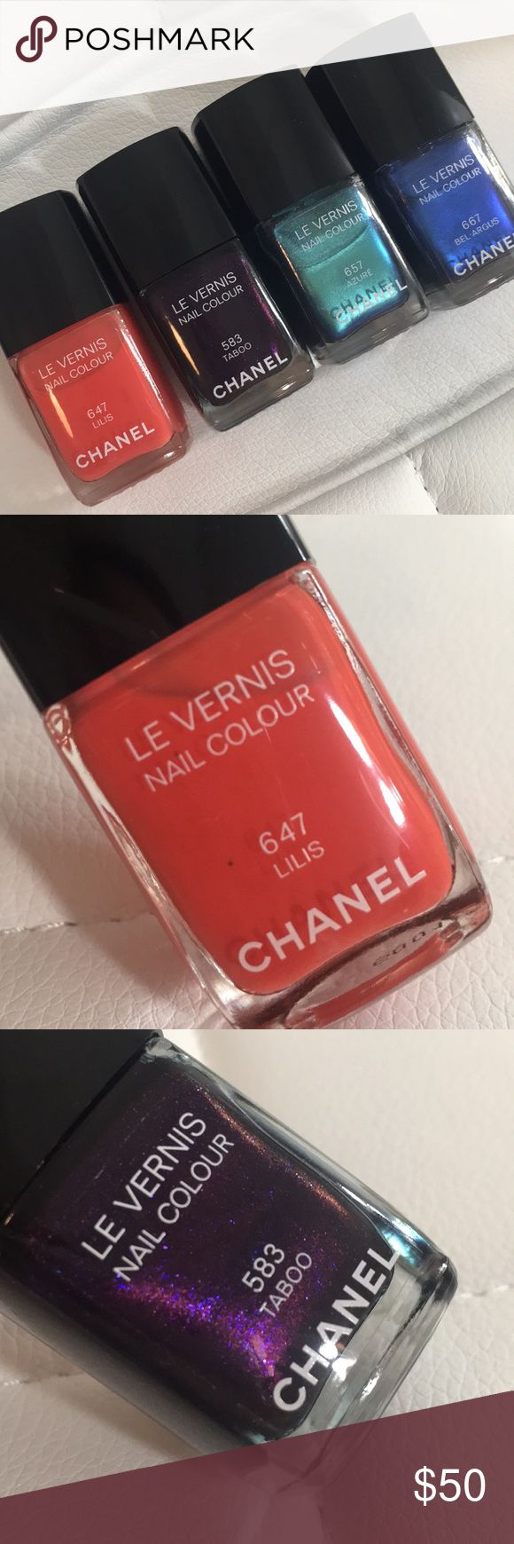 Set of 4 CHANEL Nail Polishes A set of 4 LE VERNIS NAIL COLOUR IN:  647 Lilis, 583 Taboo, 656 Azure, 667 Bel-Argus Each polish has been used once or twice maximum!  Like new condition. Great buy!!! CHANEL Makeup Brushes & Tools