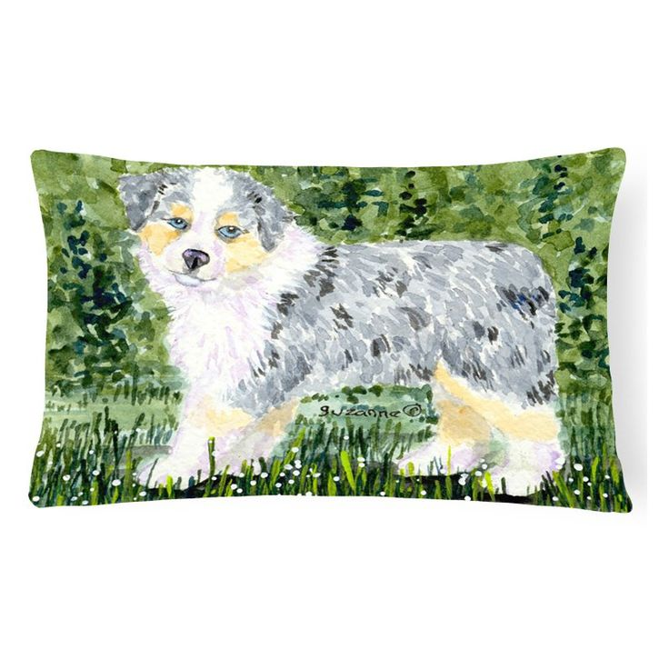 Carolines Treasures Australian Shepherd Puppy on Green Background Decorative Outdoor Pillow - SS8846PW1216