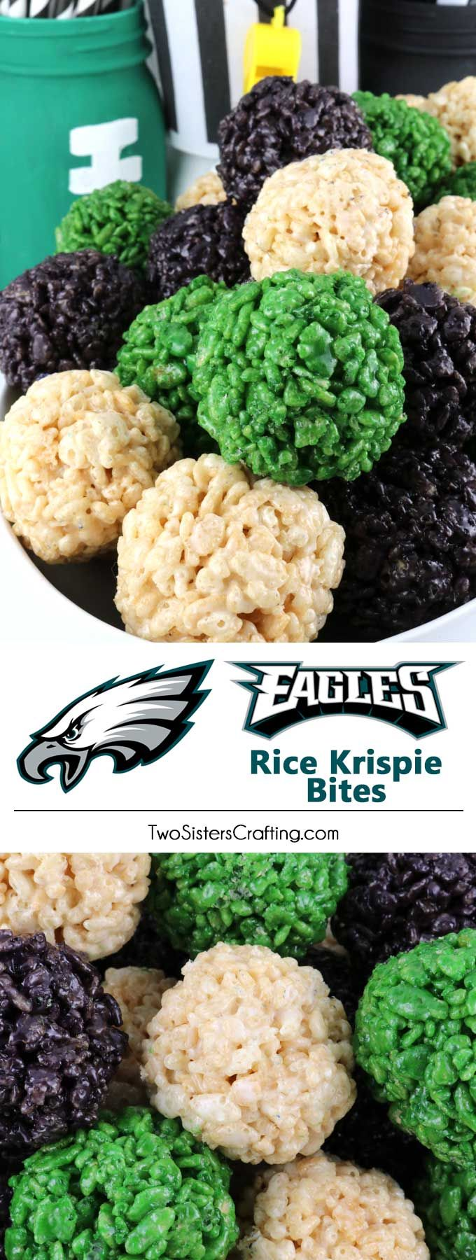 Philadelphia Eagles Rice Krispie Bites -  Yummy, bite-sized balls of crunchy, marshmallow-y delight.  These colorful and festive Philadelphia Eagles Treats are great for a game day football party, an NFL playoff party, a Super Bowl party or as a special snack for the Philadelphia Eagles fans in your life. Go Eagles!  Follow us for more fun Super Bowl Food Ideas. #eagles #philadelphiaeagles #superbowlparty #superbowlfood #philadelphiaeaglesfood via @2SistersCraft
