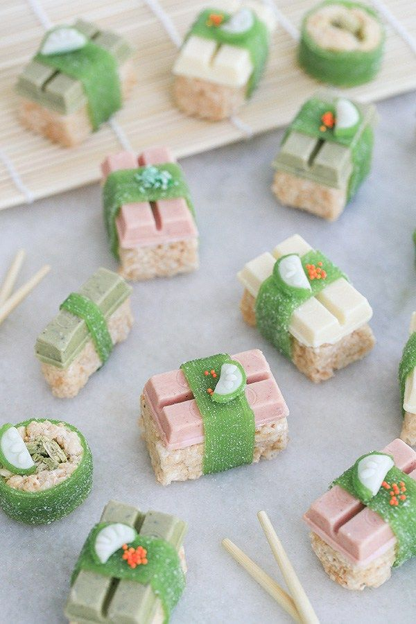You don't have to be a sushi chef to make this Kit Kat sushi! This quirky and charming dessert is an easy way to serve up some fun at a party! Sugar and Charm shares a simple tutorial for creating your own.
