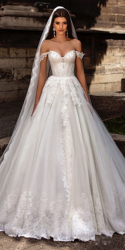 Sexy White A-Line Wedding Dresses,Off The Shoulder Sweep Train Lace Up Back Applique Tulle Bridal Gown robe de mariage from SexyPromDress