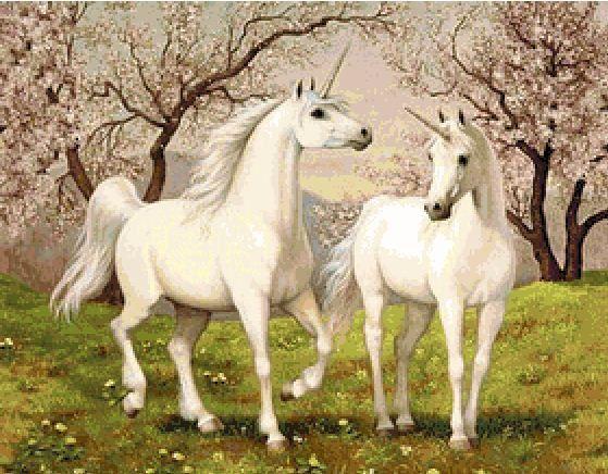 Horses unicorns Cross Stitch Pattern, Horses unicorns Chart, Modern Counted Cross Stitch Pattern | Instant…
