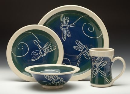 Dinner Plate lunch/dessert plate bowl and mug Blue to Green Dragonfly pattern & 290 best Everyday Dishware images on Pinterest | Dish sets Dishes ...