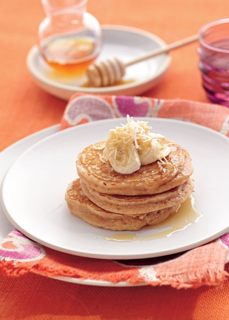 Spelt pancakes with yoghurt, honey and toasted coconut recipe from Tiffiny's Lighten Up Cookbook by Tiffiny Hall | Cooked