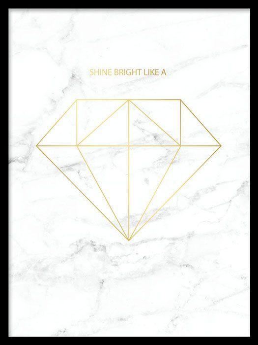 Diamond Gold marble, poster i gruppen Posters og plakater / Gull og metallic hos Desenio AB (7960)