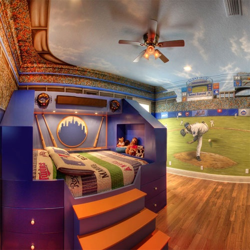 50 Awesome Bedroom Ideas: Home Run Theme Bed And Mural