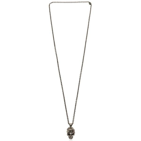 Alexander Mcqueen Men Studded Skull Charm On Chain Necklace (535 AUD) ❤ liked on Polyvore featuring men's fashion, men's jewelry, men's necklaces, silver, mens silver chain necklace, mens watches jewelry, mens chain necklace, mens silver chains and mens skull necklace