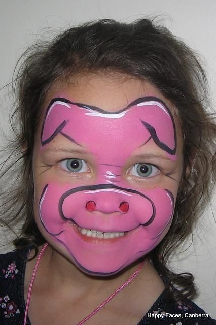 3 little pigs face makeup | Pig face paint
