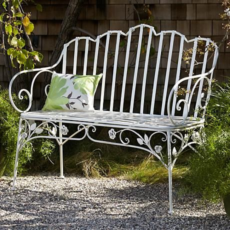Ivy Scroll Antique White Iron Outdoor Bench   Style # 6H211