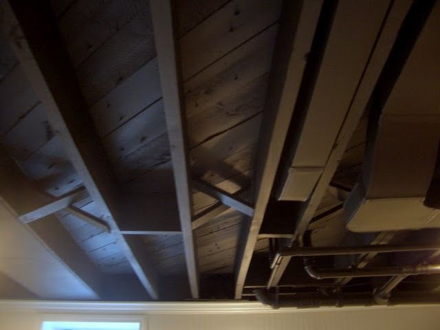 Painting Exposed Wood Ceiling: DIY Unfinished Basement Decorating