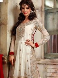 Conspicuous Off White Faux Georgette Embroidered Anarkali Salwar Suit