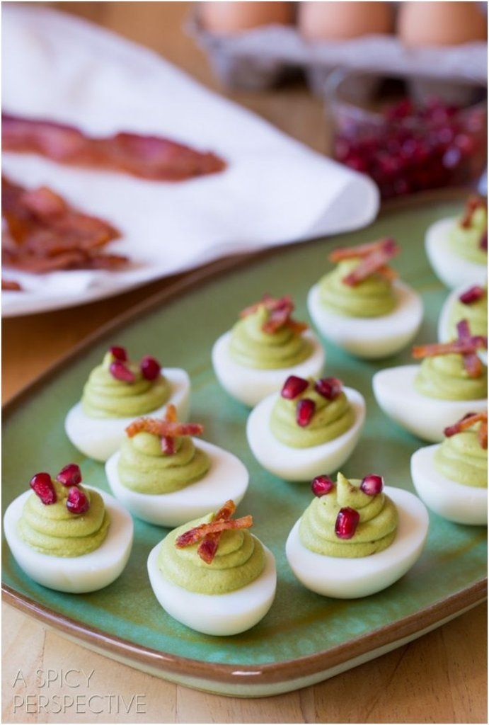 Avocado Deviled Eggs, for an easy party appetizer!