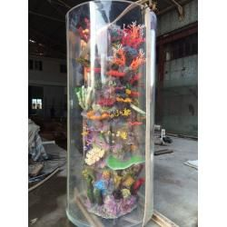 China Large Cylinder Acrylic Aquarium Tanks Custom Aquarium Fish Tank With Coral on sale