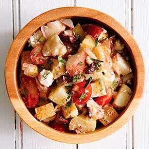 Greek Potato Salad   In this healthy potato salad recipe, a white-wine vinaigrette dresses the potatoes, tomatoes, feta and olives.