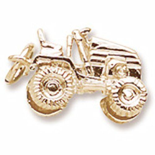 Riding Lawn Mower Charm In 14k Yellow Gold, Charms for Bracelets and Necklaces ** For more information, visit image link.