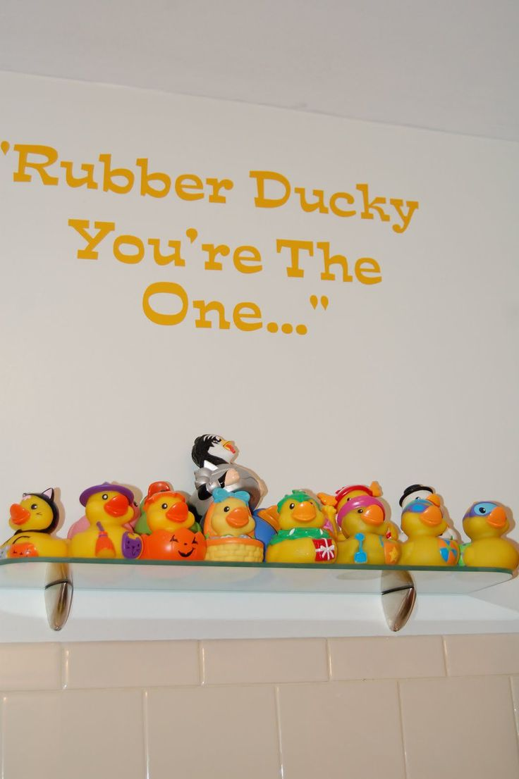Bathroom With Wall Decals And Rubber Duckies