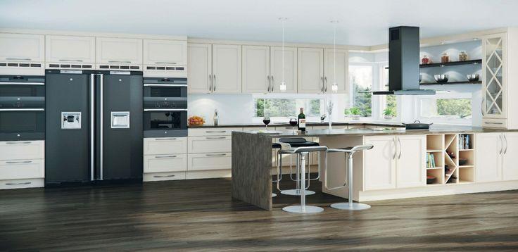 Huseby / Timian / Et tidløst og klassisk kjøkken og passer i de fleste hjem. Dette kjøkkenet har rene linjer og enkle profiler som gir et moderne og stilrent uttrykk. Frontene er produsert i MDF.