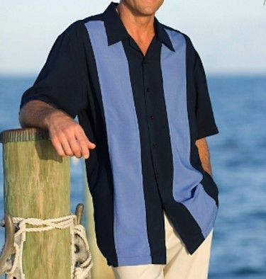 Navy Blue and Blue Two Panel Retro Shirt ~ COZUMEL