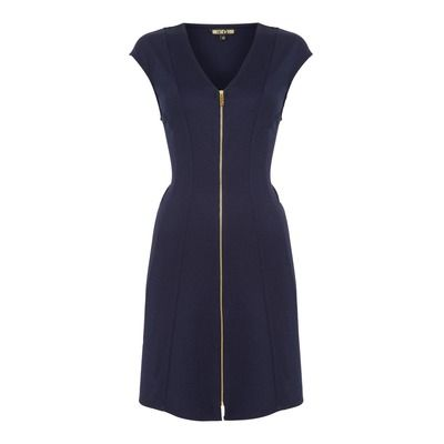 Biba Zip Front Ponti Fit And Flare Dress