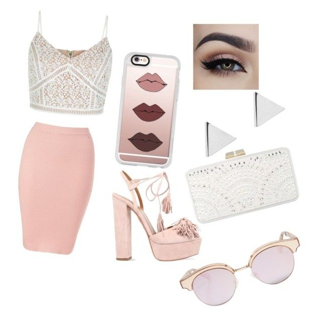 """Untitled #7"" by valentinarodriguez-iii on Polyvore featuring Lipsy, New Look, Aquazzura, BCBGMAXAZRIA, Casetify, Jennifer Meyer Jewelry and Le Specs"