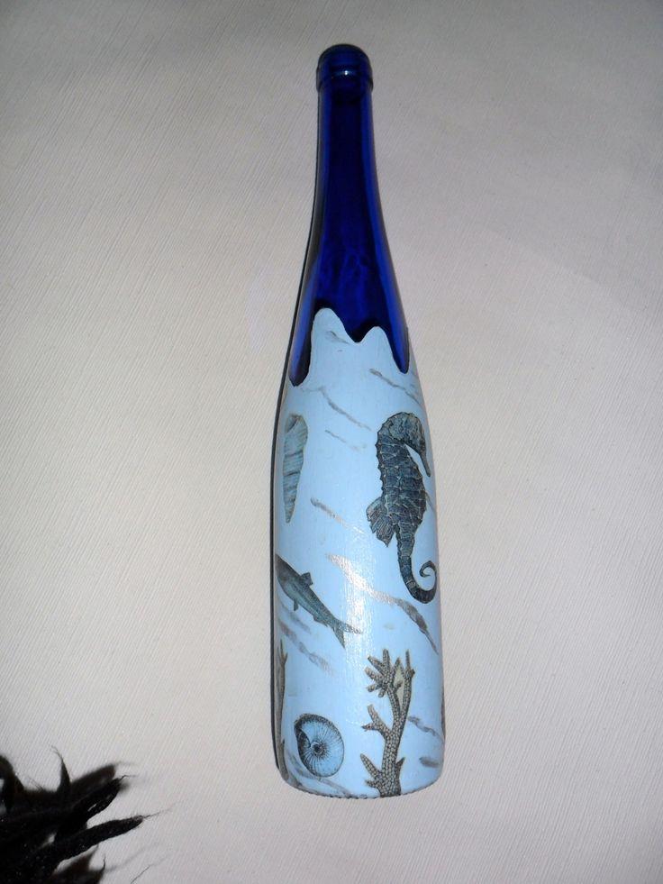 Botella decorada con motivos marinos manualidades - Botellas de vino decoradas ...