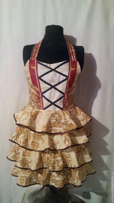 """Купить Фартук женский с воланами """"Карамель""""(корсет, юбка с оборками,воланы) - женский фартук, подарок женщине"""