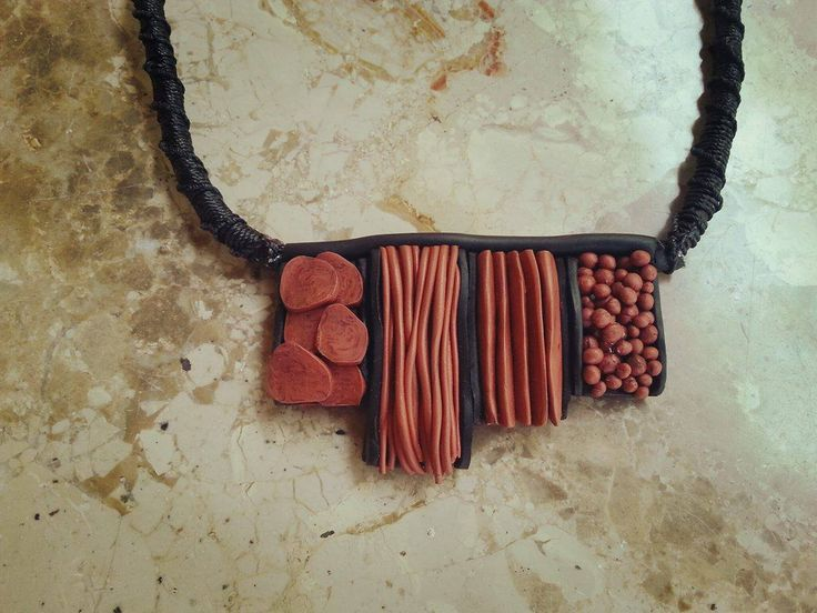 *Boho*  necklace  copper&black  w macrame neckline
