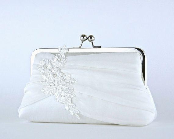 EllenVintage Alencon Lace Applique Chiffon Silk Clutch, wedding clutch, wedding bag, Bridal clutch, Purse for wedding