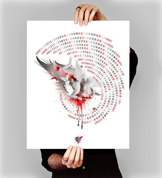 Artistic wall calendar, Bids wall calendar, Dove, Pigeon, Large wall calendar, Printable extra large calendar, Red grey white, Flying birds