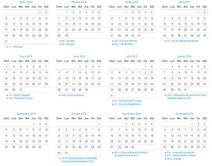 Calendario 2016 Argentina