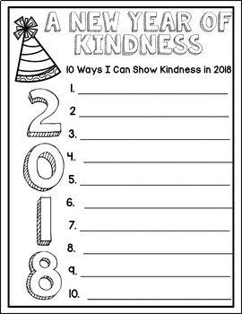 Celebrate the New Year, Resolutions and Kindness - Writing