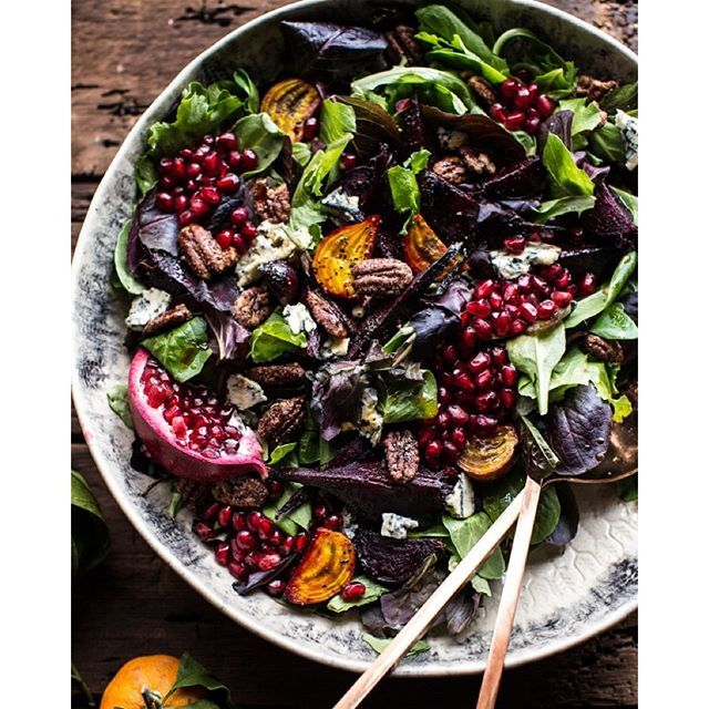 Winter Salad With Roasted Beets, Pomegranate Arils, Candied Pecans And Citrus And Fig Balsamic Dressing via @feedfeed on https://thefeedfeed.com/halfbakedharvest/winter-salad-with-roasted-beets-pomegranate-arils-candied-pecans-and-citrus-and-fig-balsamic-dressing