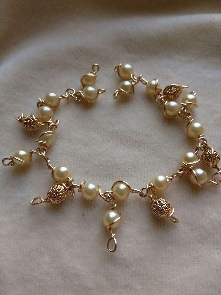 Golden Sun & Pearl Bracelet by SassieDiva on Etsy