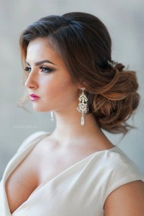 elegant low wedding updo hairstyle