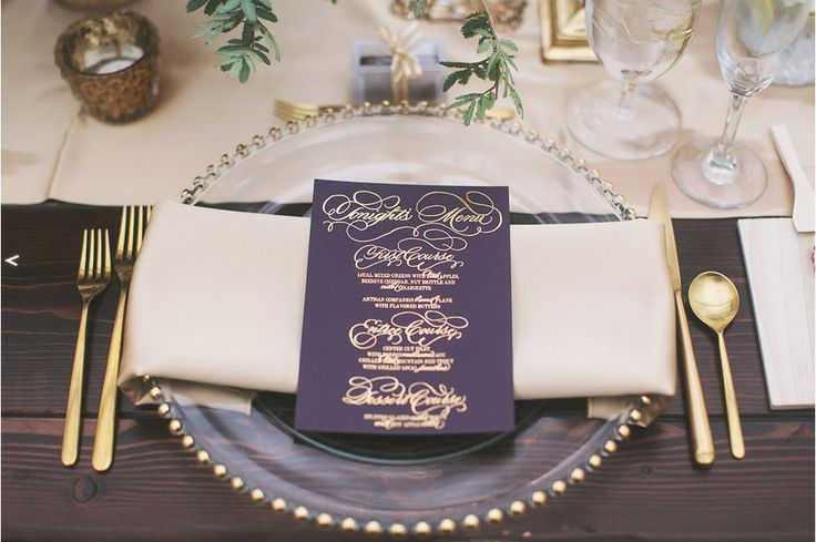 Gorgeous fall table setting! We love the contrast of the deep plum menu card against the neutral Champagne napkin