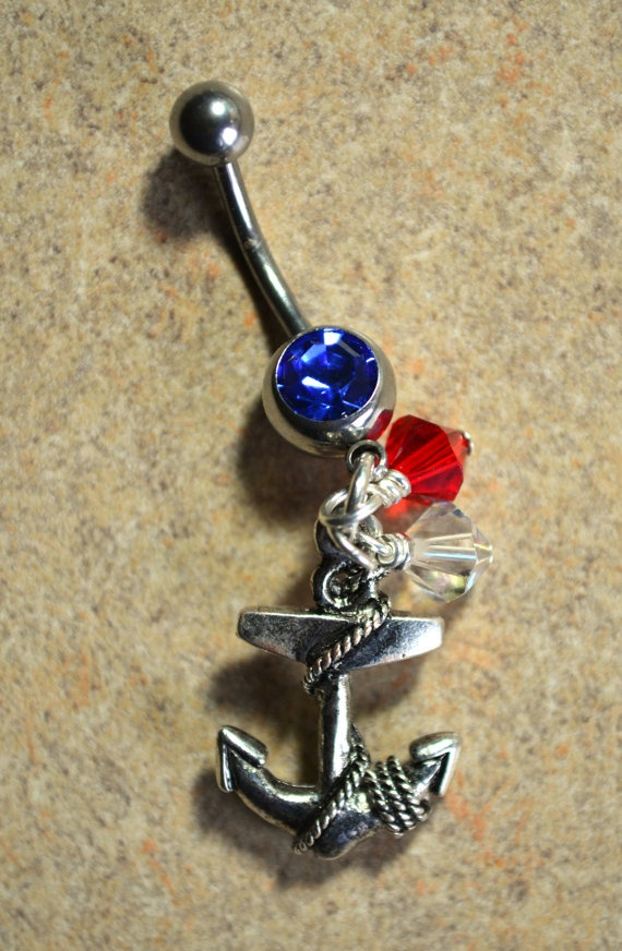 Anchor belly button ring  Red white and blue by LauriginalDesigns, $13.00