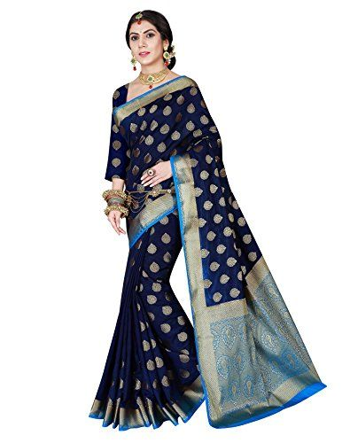 eacd7fe49ab8e1 Viva N Diva Women s Navy Blue Color Banarasi silk saree With Unstitched  Blouse Piece