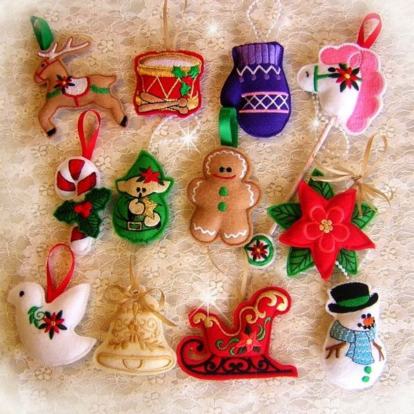 Felt Ornaments Sew-in-the-Hoop Machine Embroidery Designs