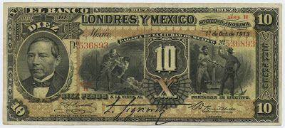 Mexican banknotes 10 Pesos banknote, el Banco de Londres y ...