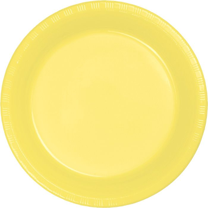 Throw in a burst of color and style with the Plastic Mimosa Yellow Dessert Plates at your special occasion.  The 7-inch dessert sized plate is perfect for safely handling party foods that have sauces and liquids that might soak through a paper plate.  Each package contains 20 plastic plates that are ideal for serving cake and ice cream or for holding tasty hot appetizers.  The larger quantity of plates is great for larger gatherings and celebrations and Mimosa Yellow is a wonderful accent…
