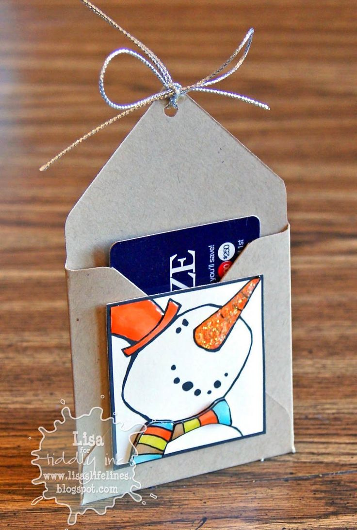 Lisa's Life Lines: MINI Envelope Gift Card Tags ... use Envelope Punch Board to create the envelope ... adorable digi images on top square panel ... could tie them onto a Christmas tree where the bow is ...